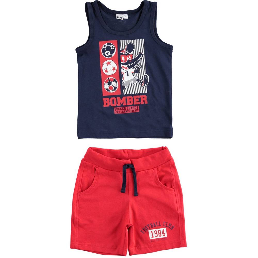 Комплект для мальчика iDO спортивный летний майка шорты принт 4.2044.00/3854