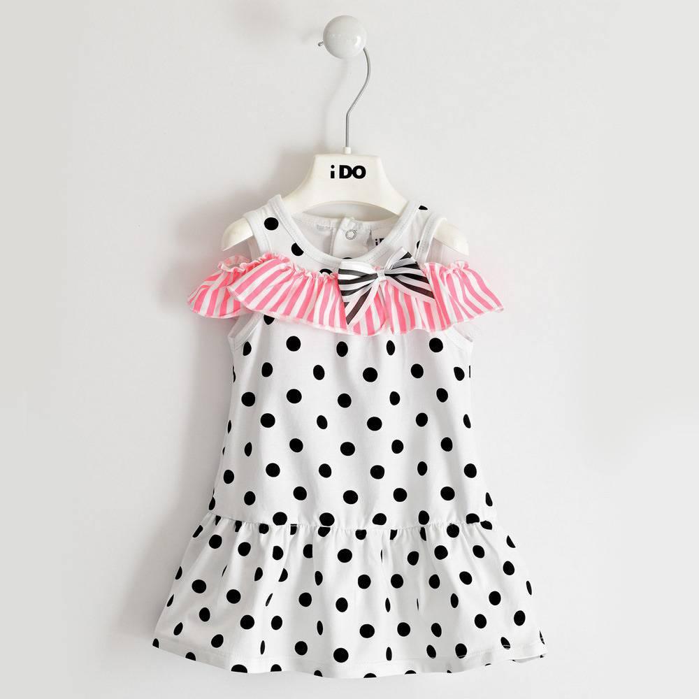 Платье для девочки iDO трикотажное хлопковое летнее с оборкой 4.2897.00/0113