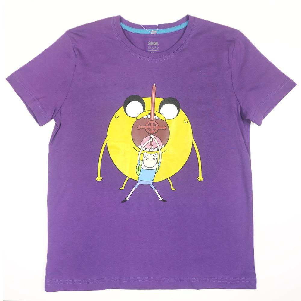 Футболка для мальчика Cartoon network Adventure Time хлопок фиолетовый трикотаж принт