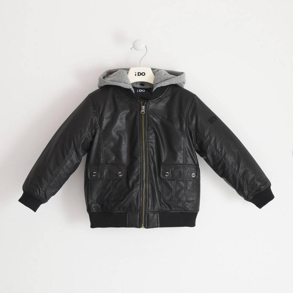 Куртка бомбер для мальчика iDO экокожа демисезонная капюшон 4.3794.00/0658