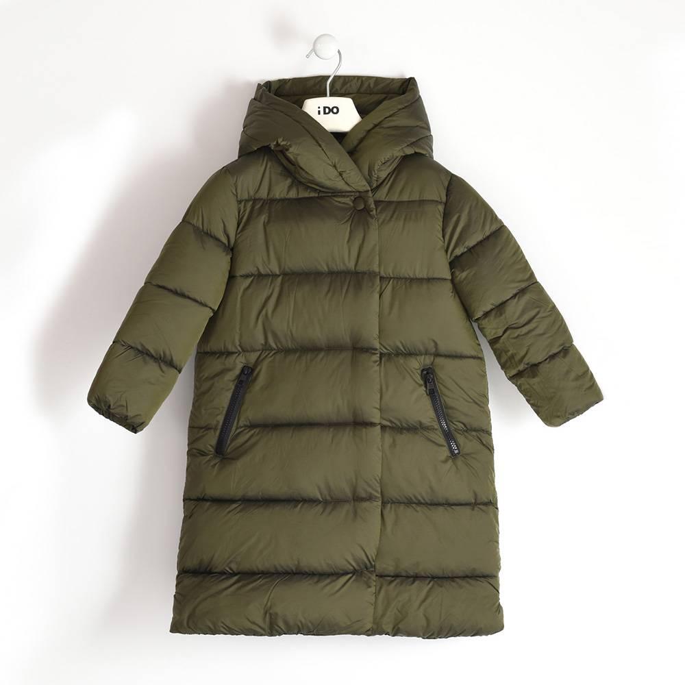 Пальто для девочки iDO подросток демисезонное утепленное стеганое с капюшоном 4.3989