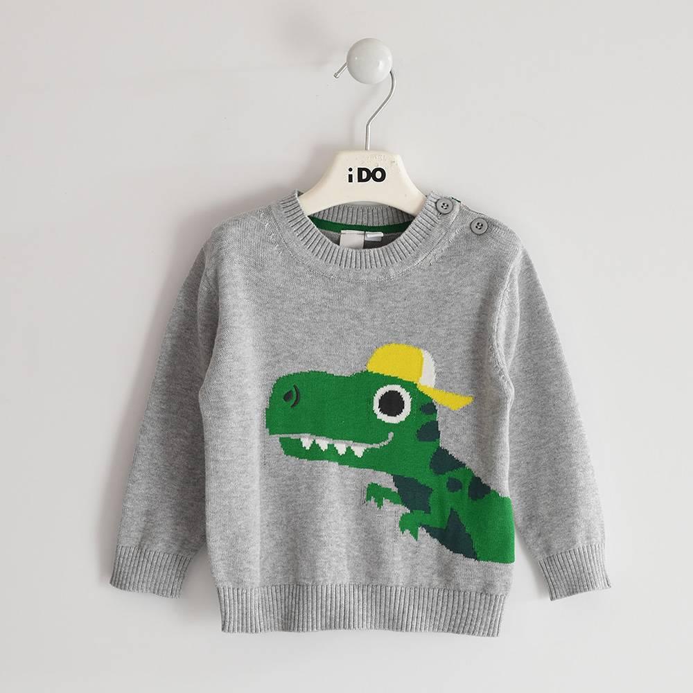 Свитер для мальчика iDO вязанный аппликация крокодила 4.3403.00/8992