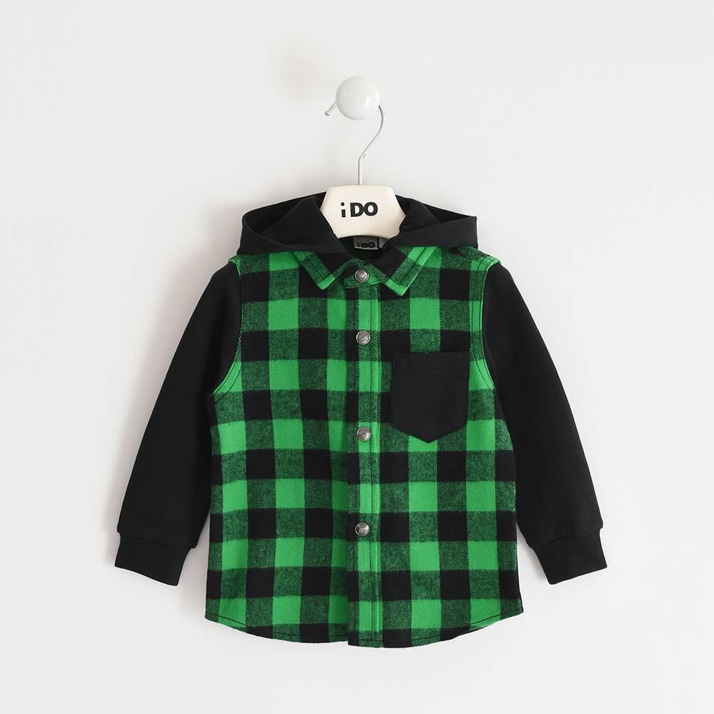Рубашка для мальчика iDO хлопок клетка капюшон 4.3412