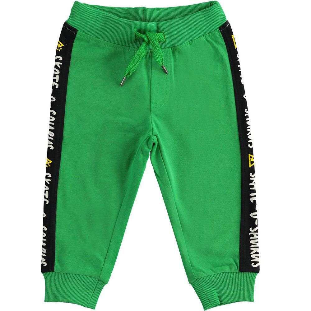 Штаны спортивные для мальчика iDO хлопок эластичный зеленый трикотаж на манжете 4.3454.00/5155