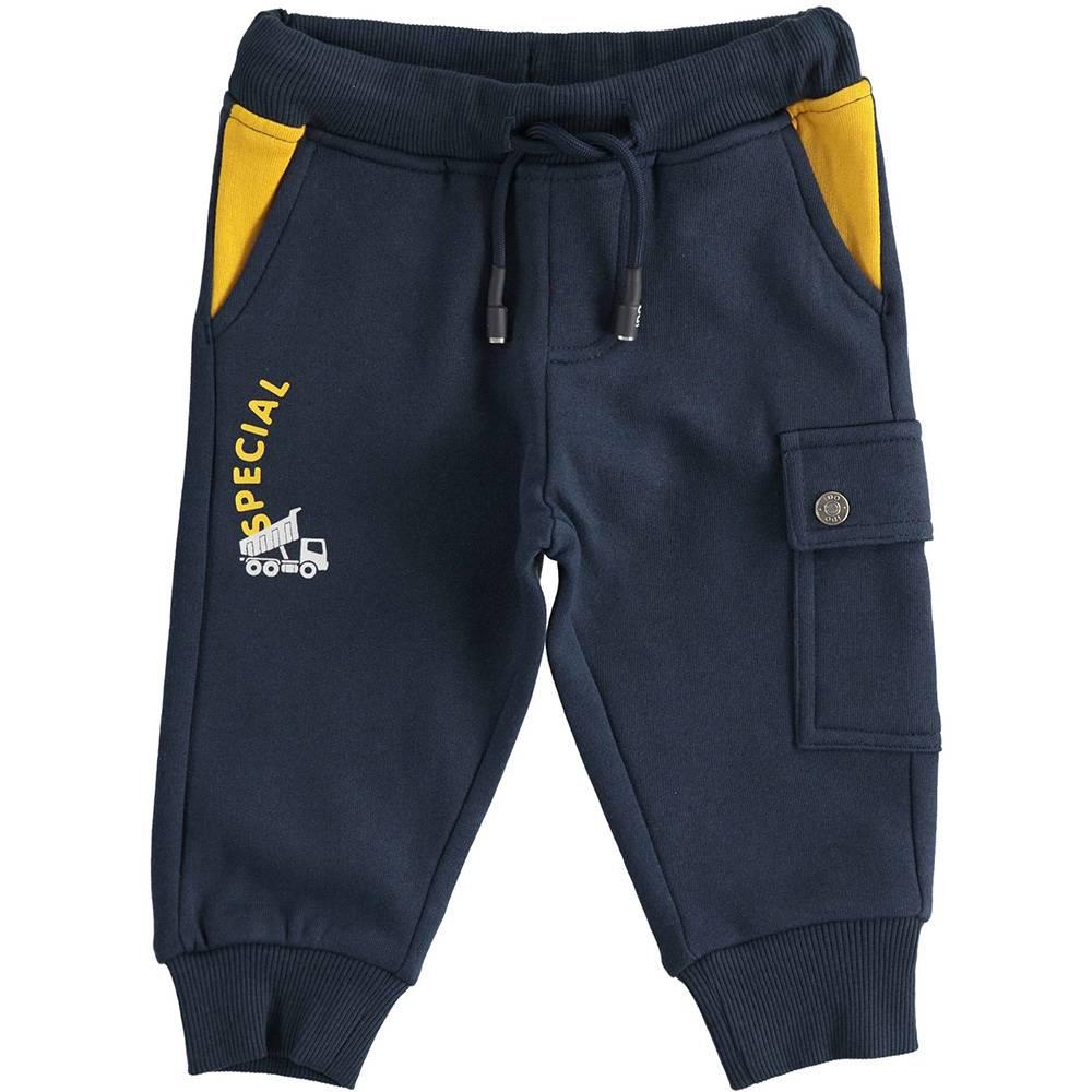 Штаны спортивные для мальчика iDO хлопок эластичный синий трикотаж на манжете 4.3463.00/3885