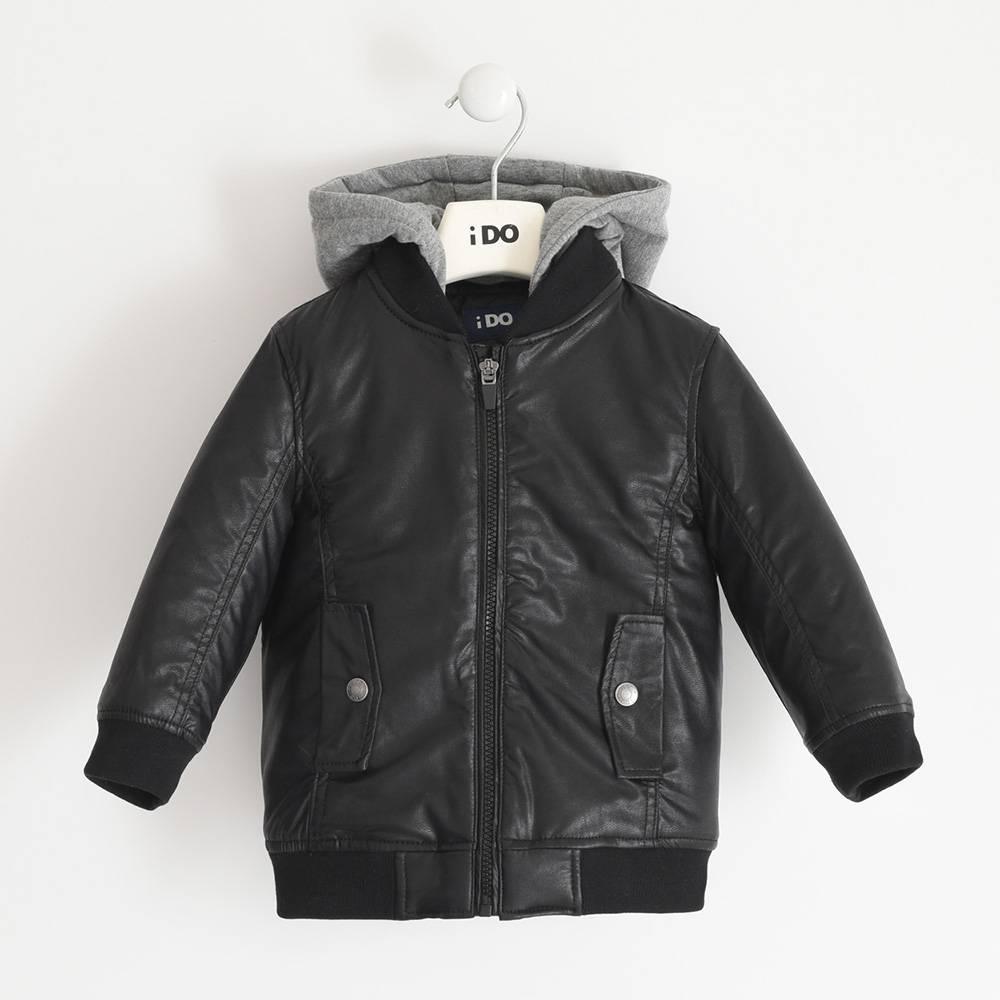 Куртка бомбер для мальчика iDO экокожа демисезонная капюшон 4.3791.00/0658