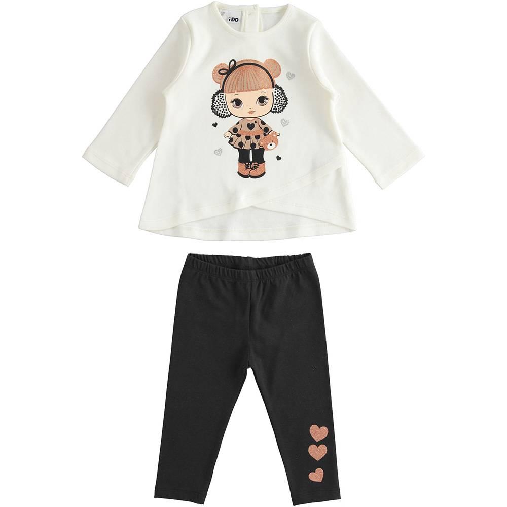 Комплект для девочки iDO трикотаж хлопок туника с рукавами леггинсы 4.3557.00/0112