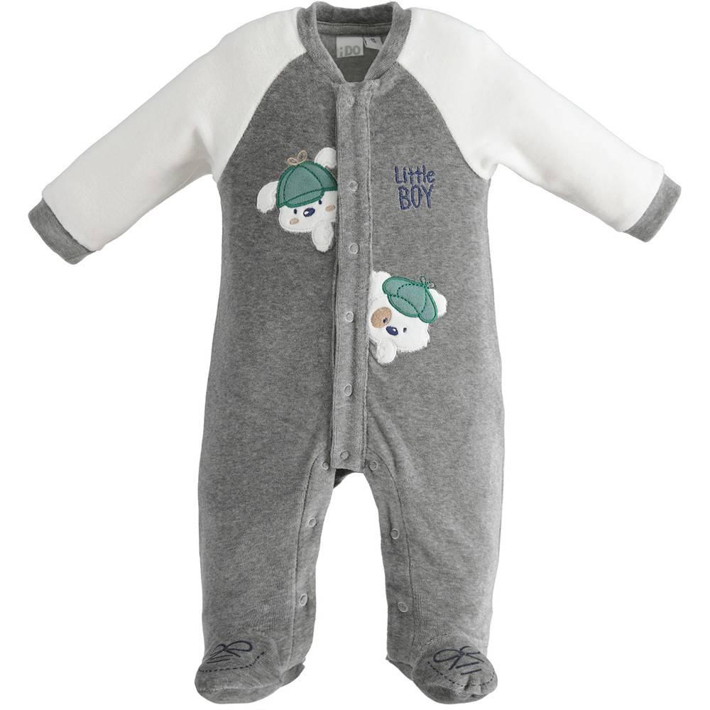 Человечек для мальчика iDOноворожденного серый трикотаж аппликация застежка спереди 4.3163.00/8970