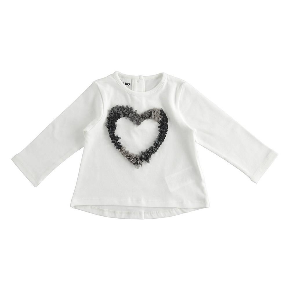 Реглан для девочки iDO трикотаж хлопок аппликация в виде сердечка 4.3629.00/0112