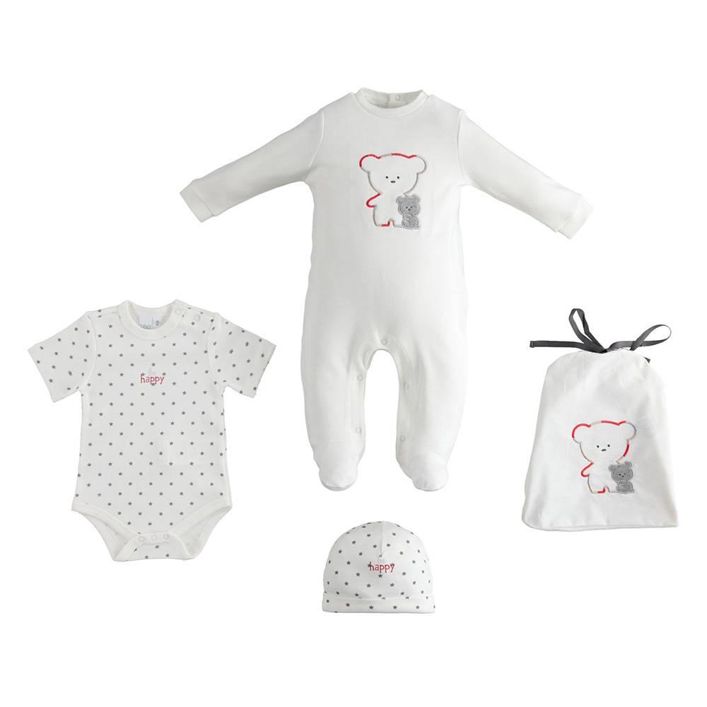 Комплект детский iDO для новорожденного человечек боди шапка трикотаж 4.3220.00/0112