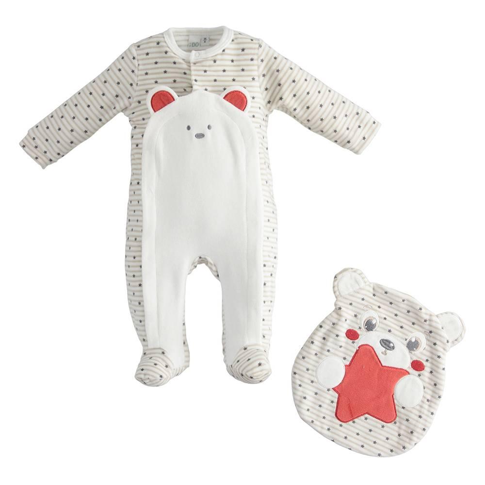 Комплект детский iDO для новорожденного велюровый трикотаж человечек мешочек 4.3296.00/0442