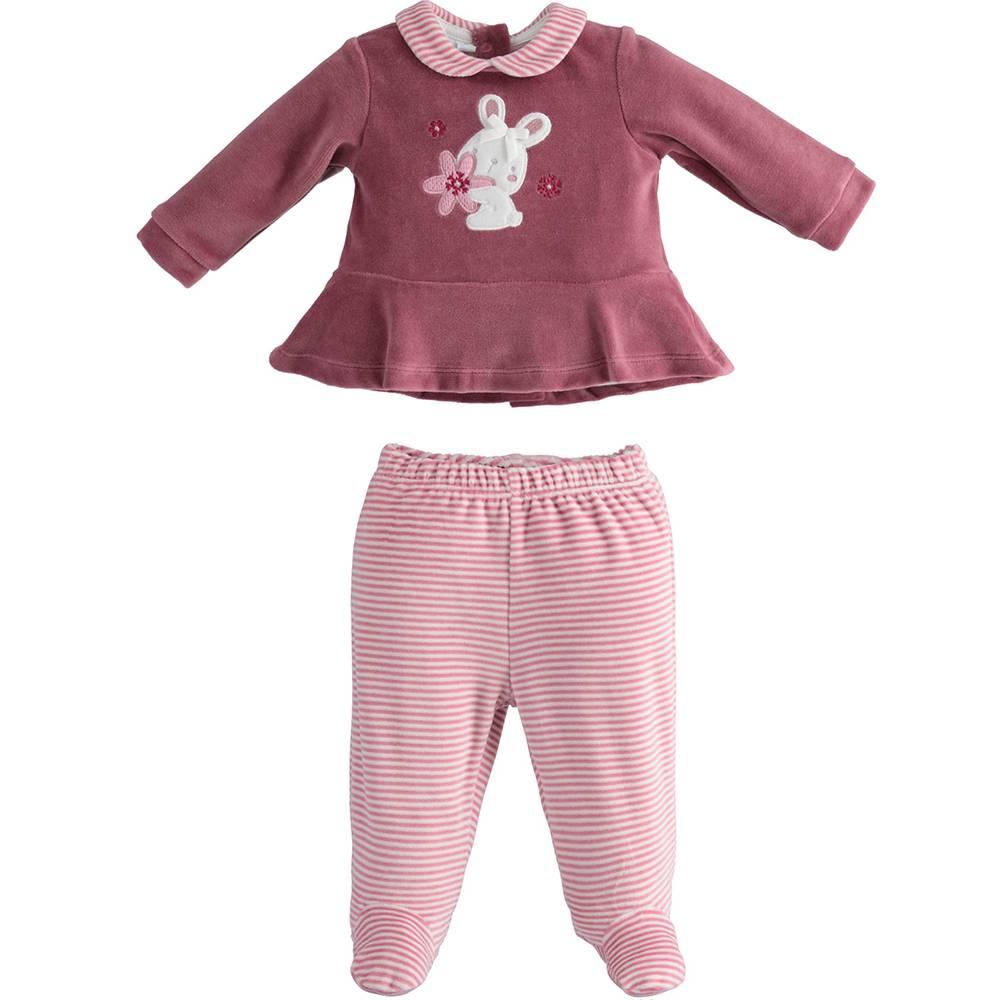 Комплект для девочки iDO велюровый для новорожденной реглан ползунок 4.3252.00/2748