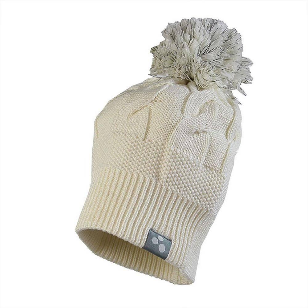 Шапка для девочки Huppa бежевый зимняя вязаная с помпоном 80140000/60020