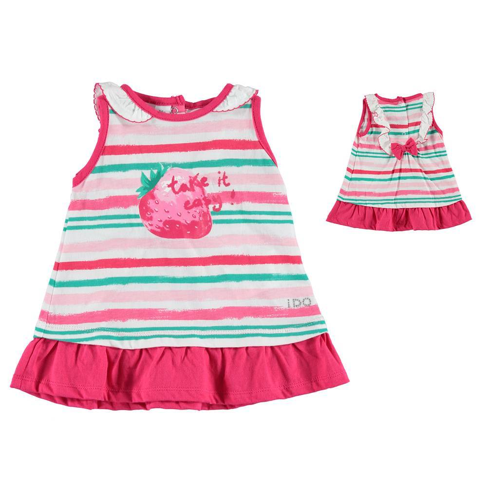 Платье для девочки iDO летнее трикотажное с воланом 4.S661.00/6T97
