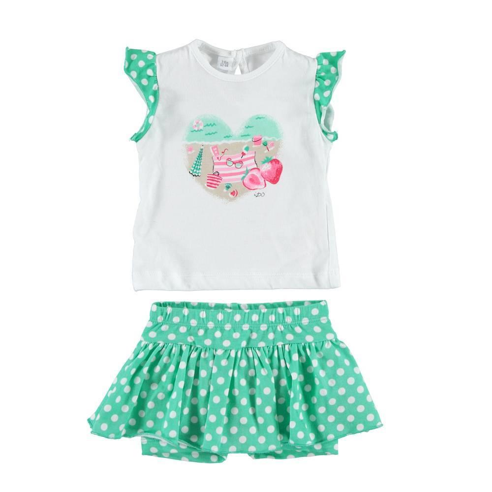 Костюм для девочки iDO летний хлопок футболка юбка/шорты 4.S673.00/8036