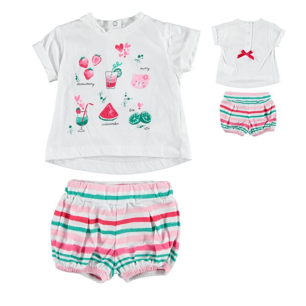 Комплект для девочки iDO летний хлопок трикотаж футболка шорты 4.S675.00/8043