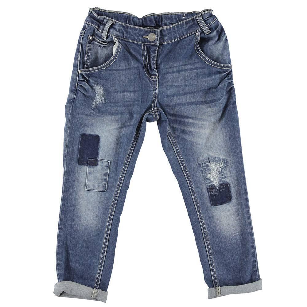 Джинсы для девочки iDO синий с царапинами с отворотами 4.S545.00/7400