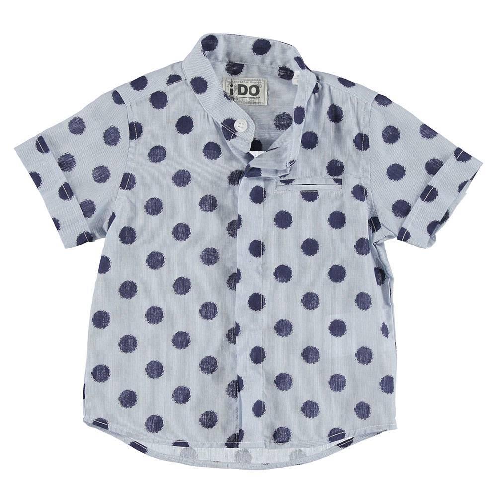 Рубашка для мальчика короткий рукав голубой в горох 4.S701.00/3741
