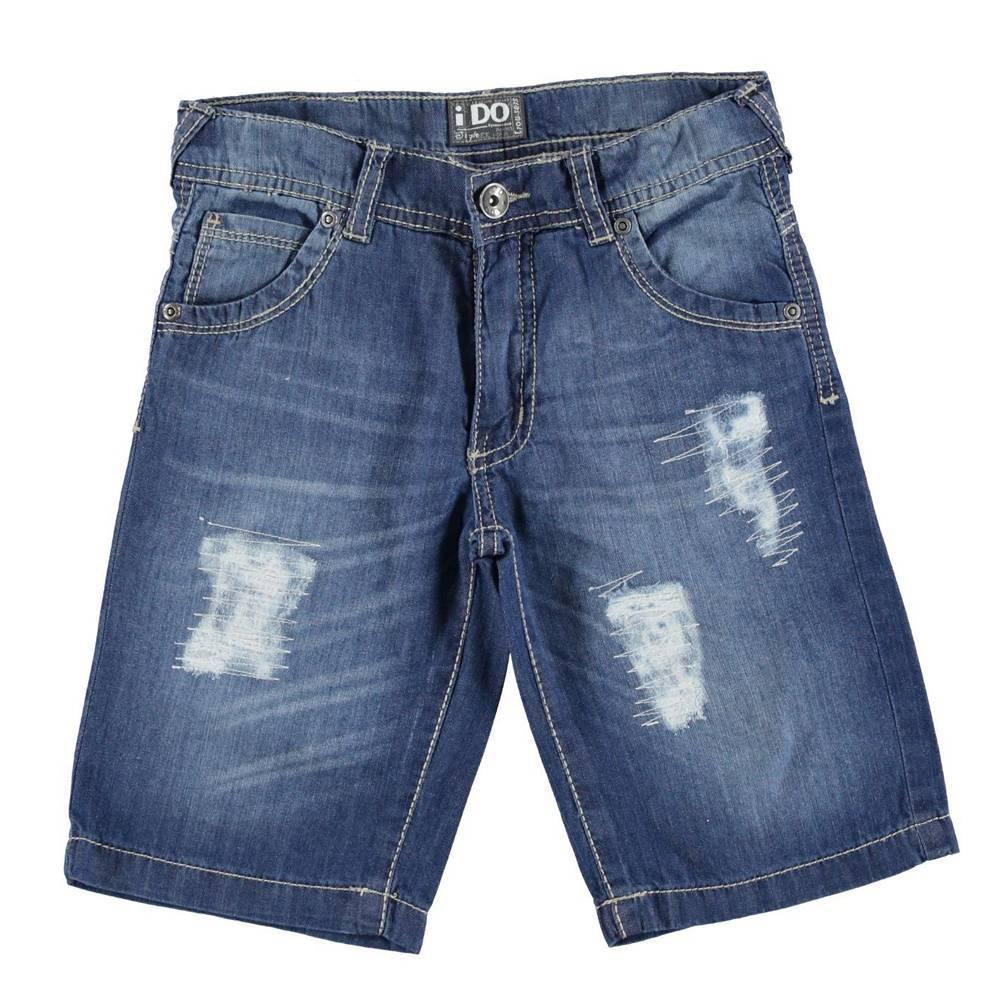 Шорты для мальчика iDO джинсовые с потертостями разрезами хлопок 4.S847.00/7450