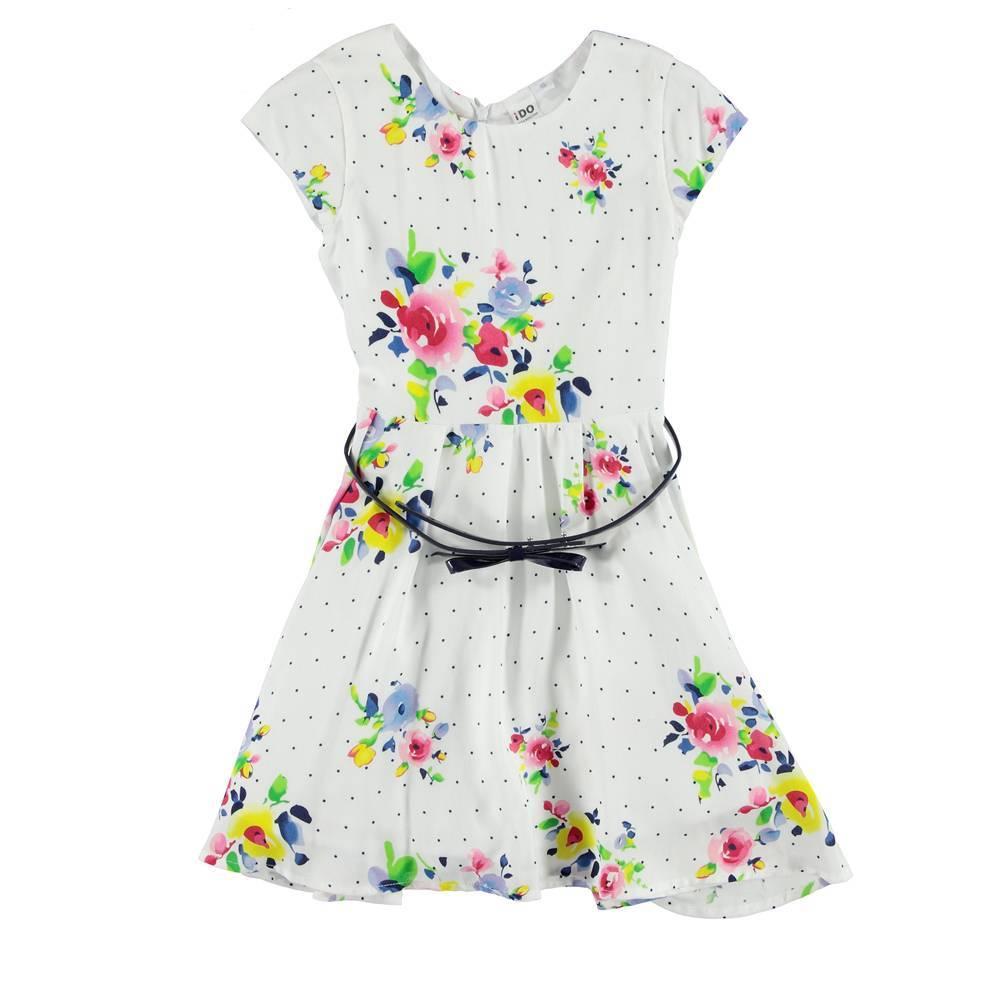 Платье для девочки iDO летнее хлопок цветочный принт 4.S901.00/6U07