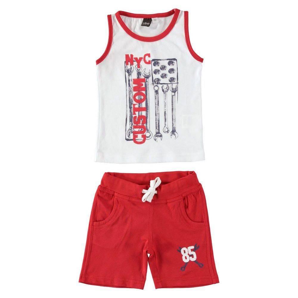 Комплект для мальчика iDO летний спортивный хлопок трикотаж принт 4.S753.00/8025