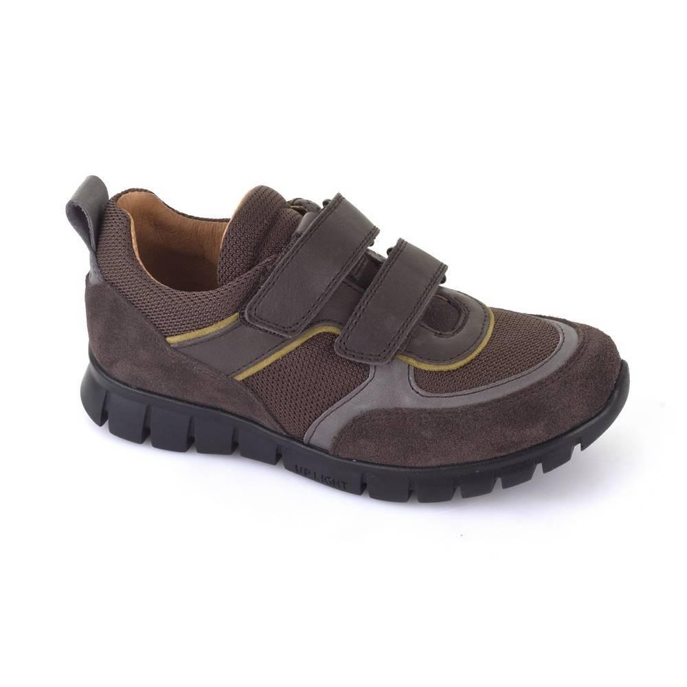 Кроссовки для мальчика Froddo демисезонные натуральная кожа текстиль на липучках G3130104-1/DarkBrown