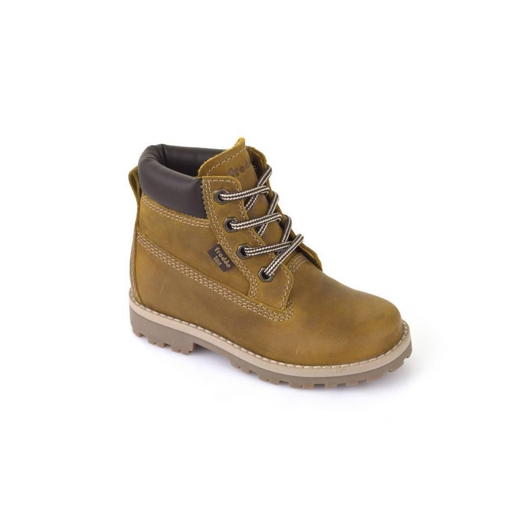 Ботинки детские Froddo демисезонные натуральная кожа нубук на шнурках G3110088-3/yellow