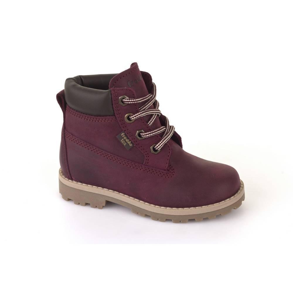 Ботинки детские Froddo демисезонные натуральная кожа нубук на шнурках G3110088-4/bordeaux
