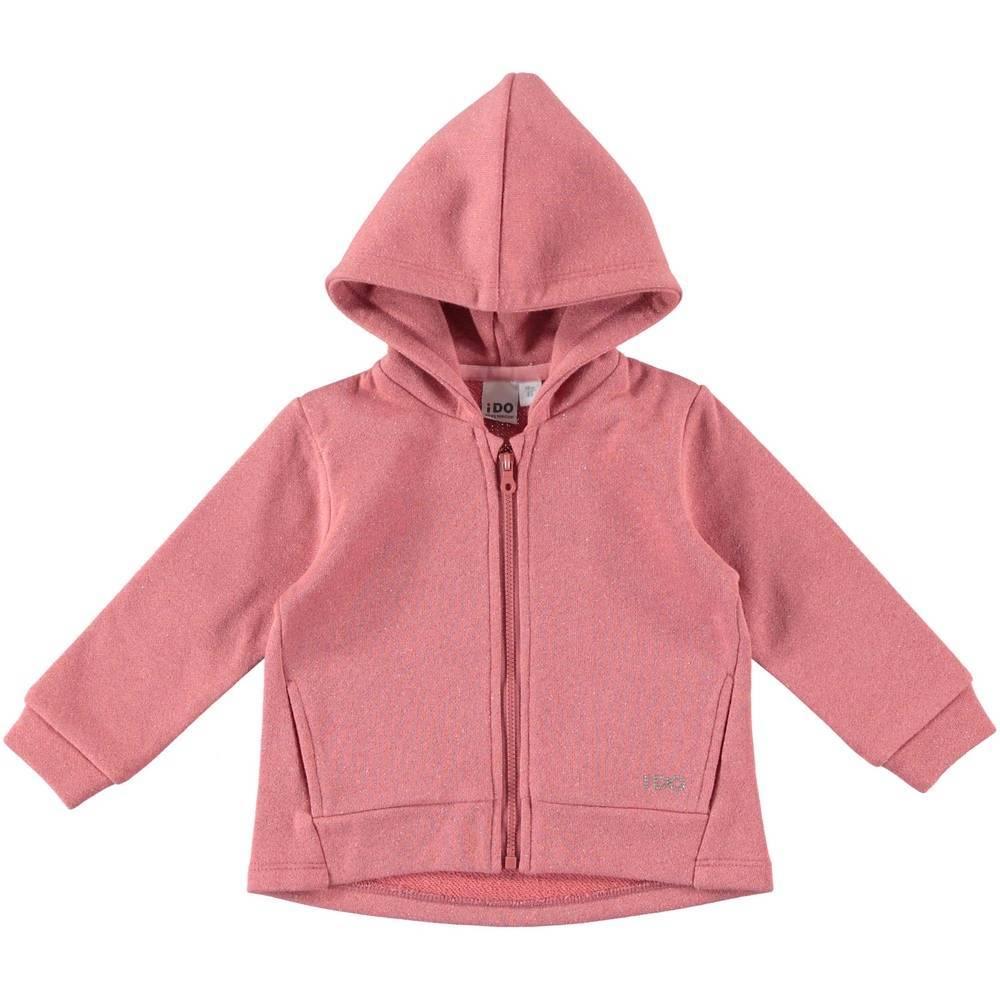 Толстовка для девочки iDO розовый трикотаж принт с капшоном 4.T663.00/2517