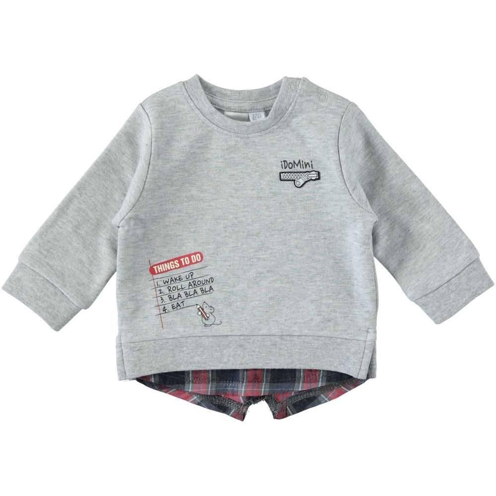 Реглан для мальчика iDO серый трикотаж иммитация рубашки 4.T233.00/8992