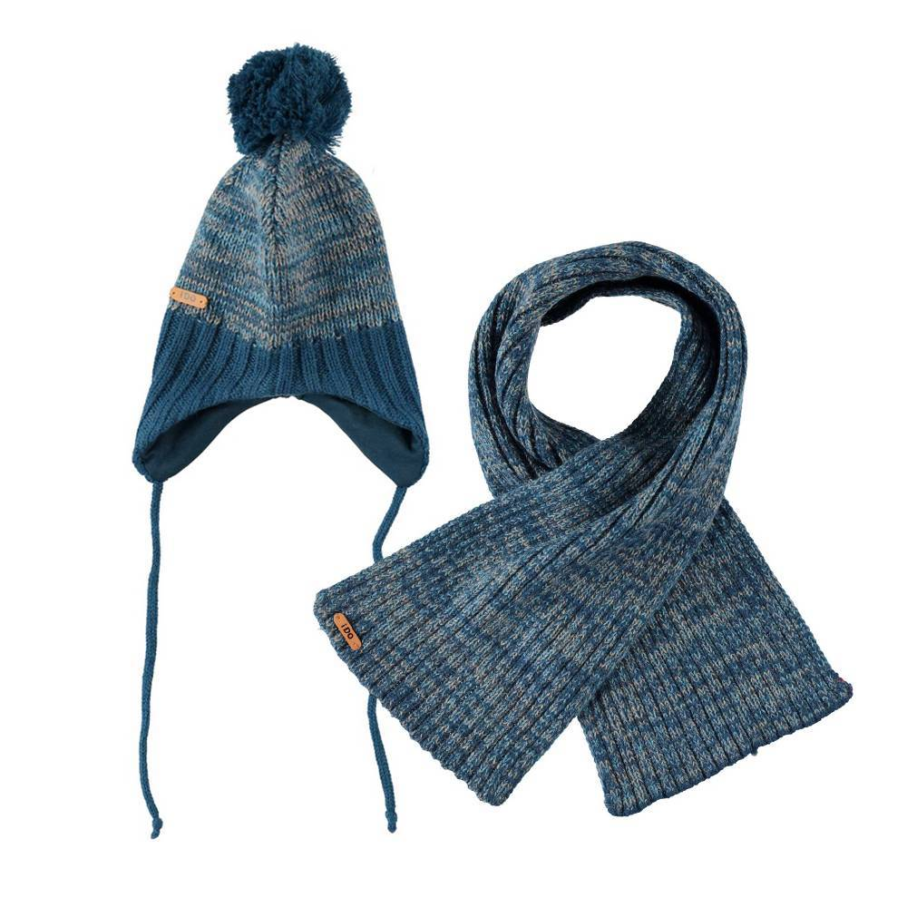 Комплект для мальчика iDO вязаный шапка шарф 4.T100.00