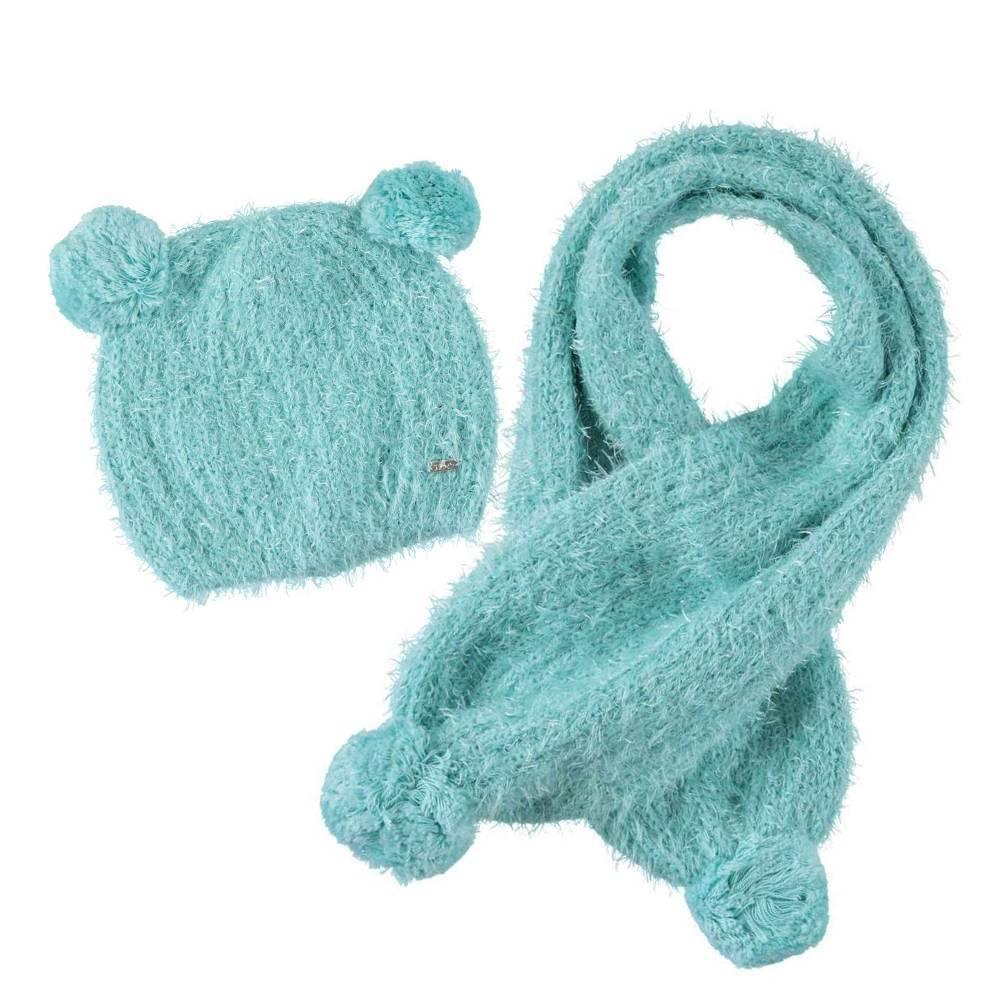 Комплект для девочки iDO вязаный шапка шарф 4.T132.00