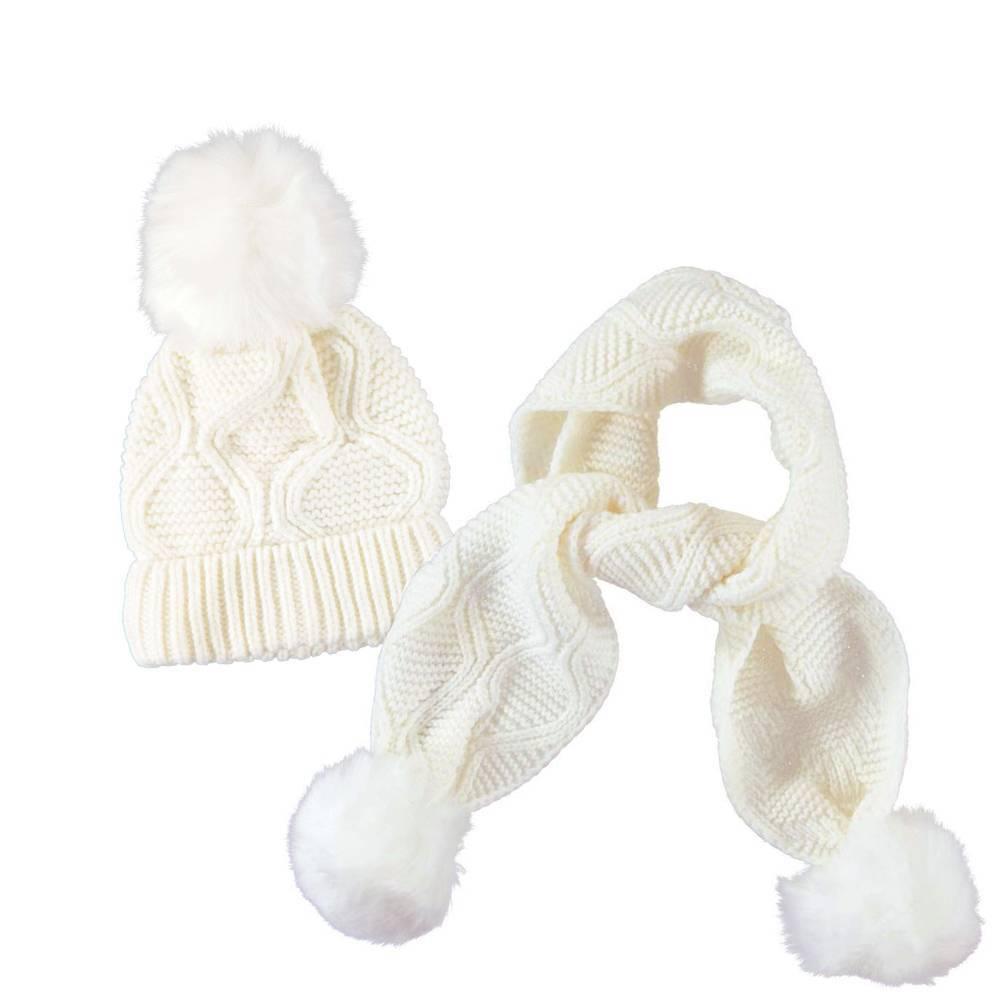 Комплект iDO для девочки белый вязанный шапка шарф 4.T137.00/0112