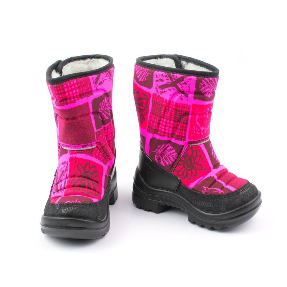 Сапоги для девочки KUOMA зимние розовые с принтом на липучке 1211/6674