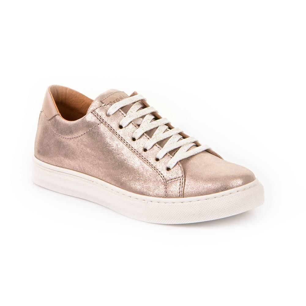 Кроссовки для девочки Froddo демисезонные натуральная кожа шнурки G4130056-3/gold