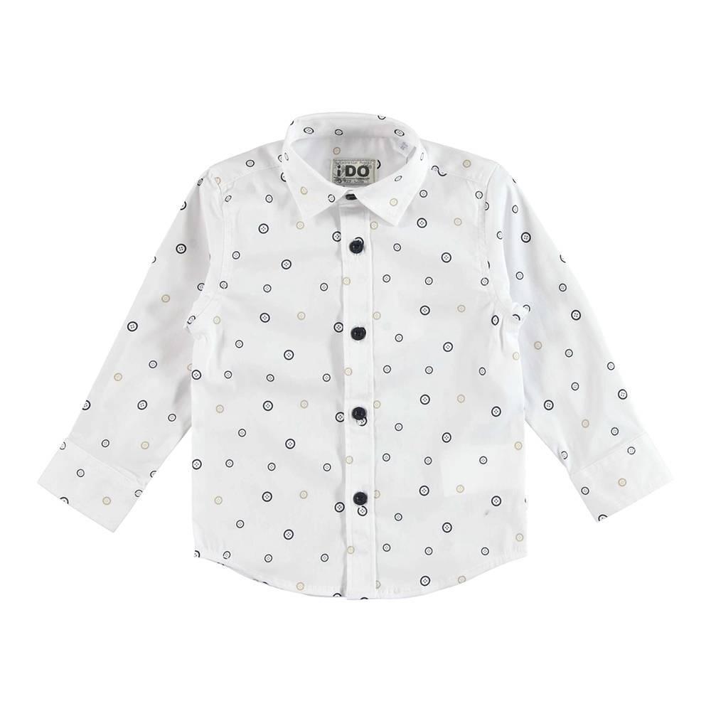 Рубашка для мальчика iDO классическая белая с принтом 4.U201.00/6BA9