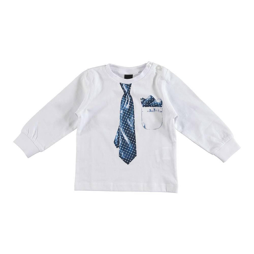 Реглан для мальчика iDO трикотаж хлопок принт в виде галстука 4.U210.00/0113