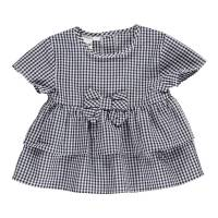 Рубашка для девочки iDO хлопок летняя короткий рукав клетчатая 4.U320.00/3854