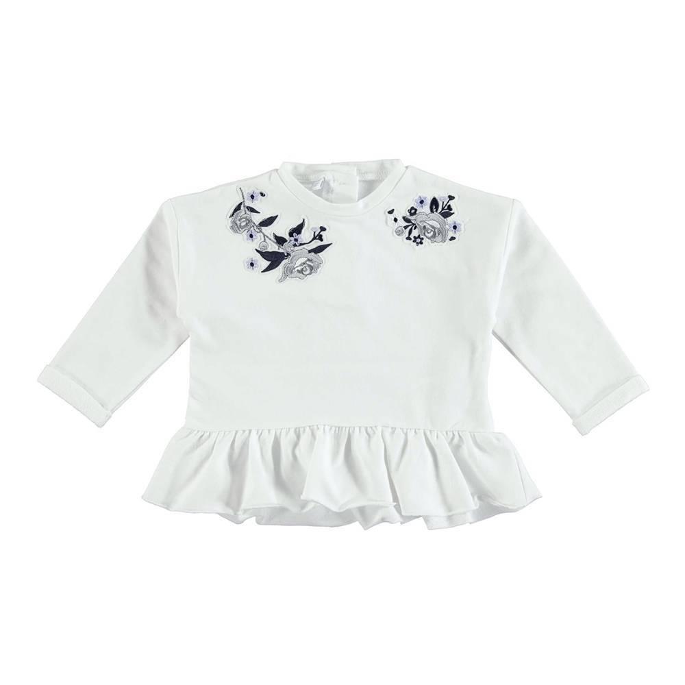 Туника для девочки iDO трикотаж длинный рукавс оборка цветочная аппликация 4.U349.00/0113