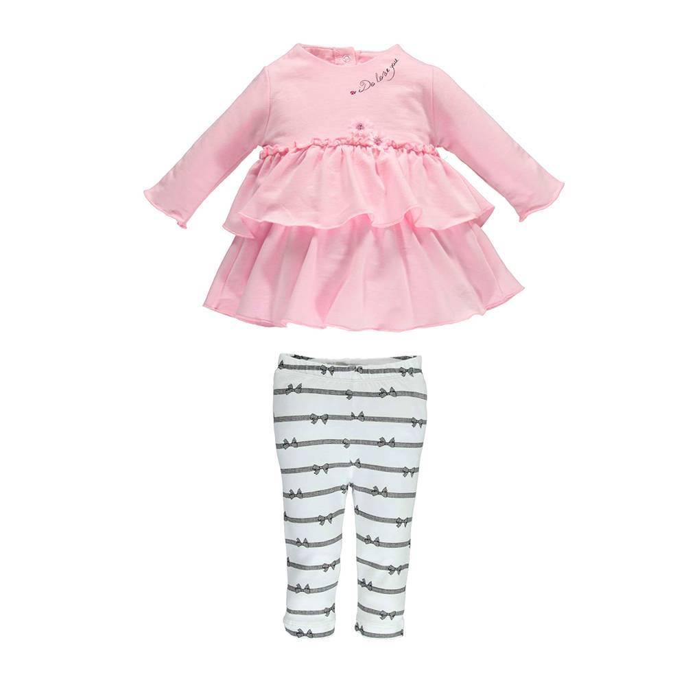 Комплект для девочки iDO для новорожденной хлопок трикотаж реглан полосатые леггинсы 4.U154.00/8001