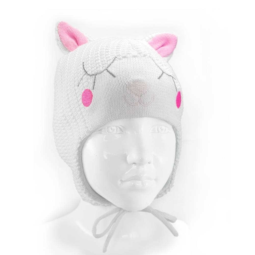 Шапка для девочки вязанная демисезонная на завязках CATTY 18242/001