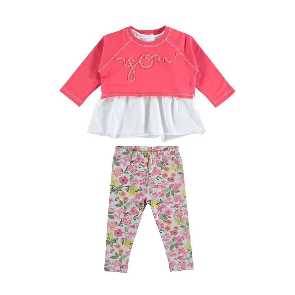 Комплект для девочки iDO трикотажный костюм реглан футболка леггинсы стильно 4.U310.00/8416