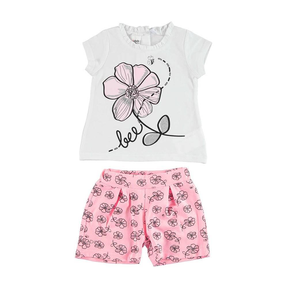 Комплект костюм для девочки iDO летний трикотаж хлопок футболка шорты 4.U434.00/8002