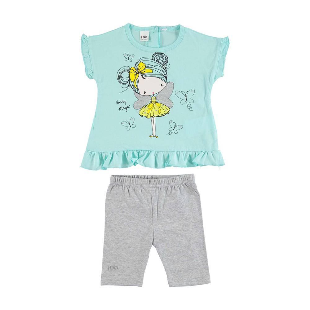 Комплект костюм для девочки iDO летний трикотаж футболка шорти 4.U435.00/8404