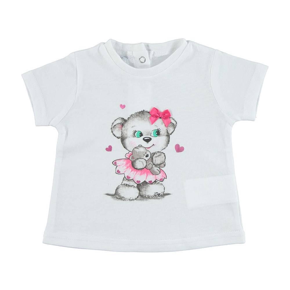 Футболка для девочки iDO бавовна трикотажна рисунок мишутка с сердечками 4.U653.00/0113