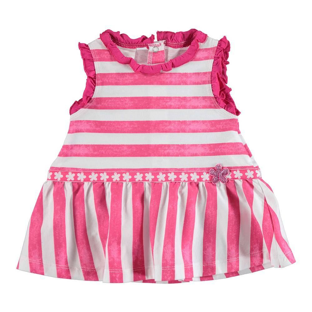 Платье для девочки iDO летнее трикотажное полосатое с оборкой 4.U663.00/6CA5