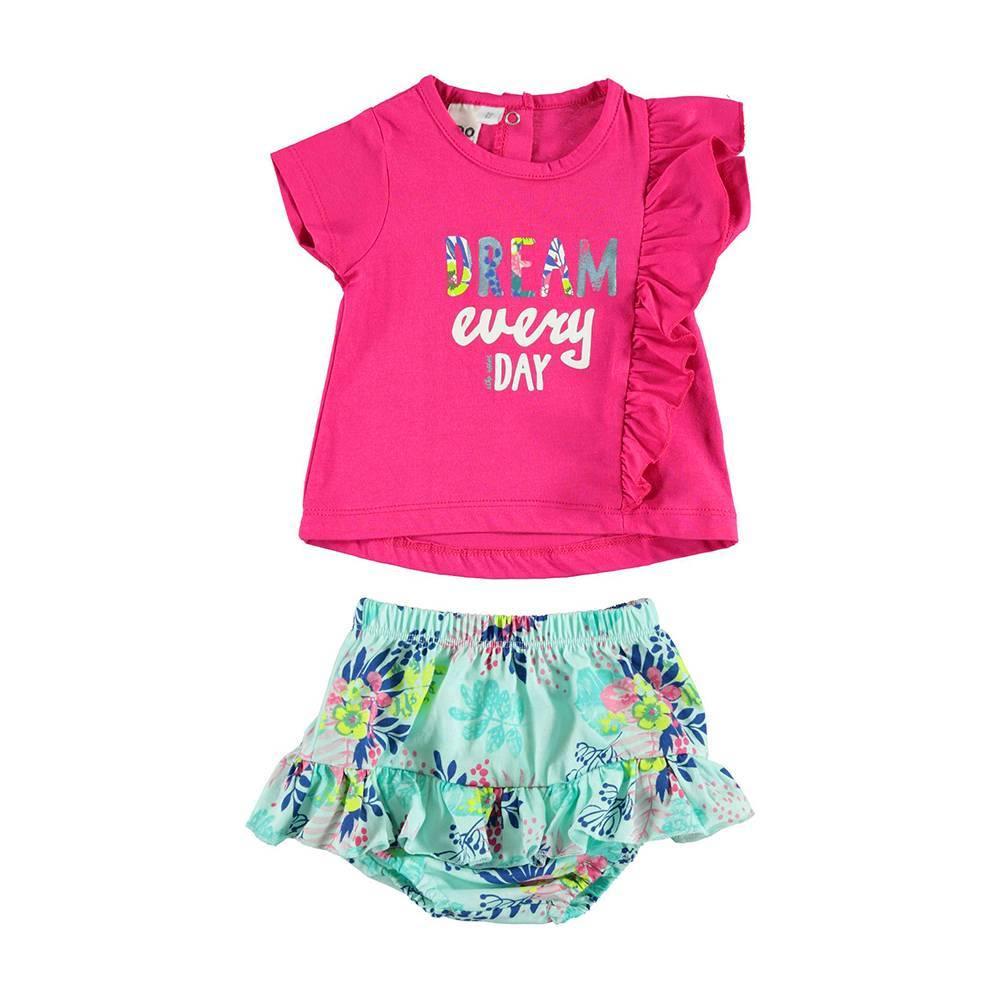 Комплект для девочки iDO летний однотонная футболка цветные трусы 4.U675.00/8092
