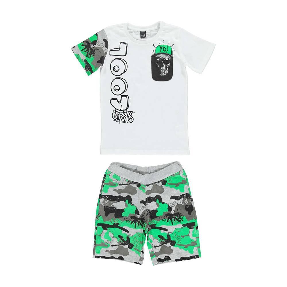 Комплект для мальчика iDO спортивный летний хлопок трикотаж камуфляж 4.U851.00/8057