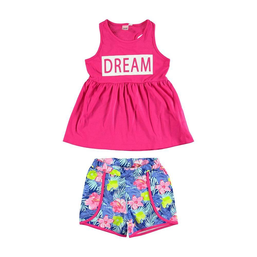 Комплект для девочки iDO летний хлопок трикотаж майка короткие шорты 4.U926.00/8411