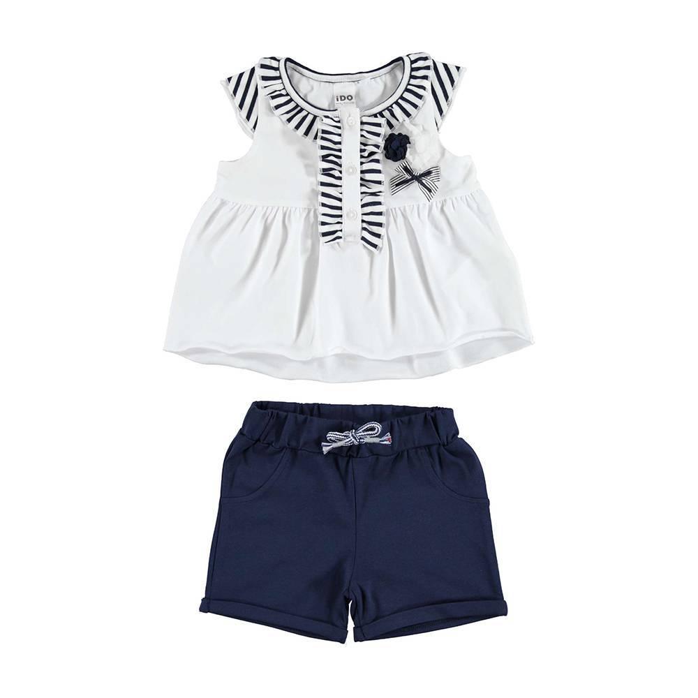 Комплект для девочки iDO костюм трикотаж хлопок футболка шорты принт 4.U794.00/8020